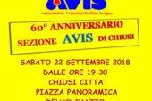 Chiusi: 60 anni dell'Associazione Avis. Sabato la festa