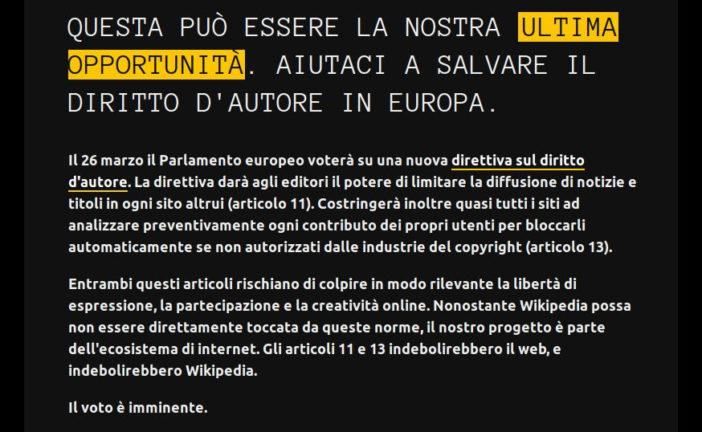 Wikipedia si auto-oscura per protesta contro la Riforma EU sul Copyright