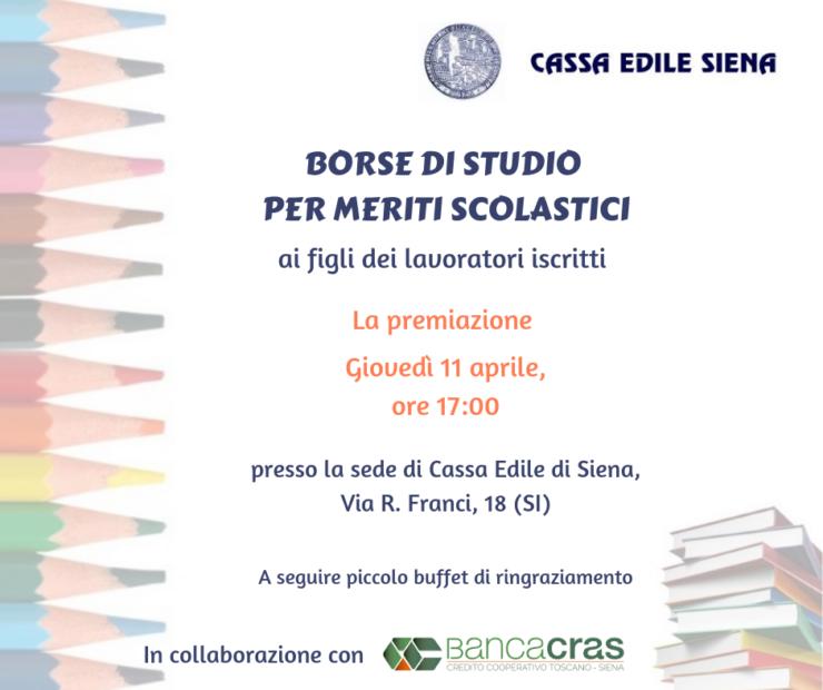 2886a37d40 Centotrenta borse di studio per un totale di 60mila euro, questi i  finanziamenti erogati dalla Cassa Edile di Siena da luglio 2018 per  premiare l'eccellenza ...