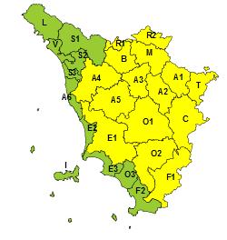 Maltempo: allerta giallo per temporali e rischio idrogeologico