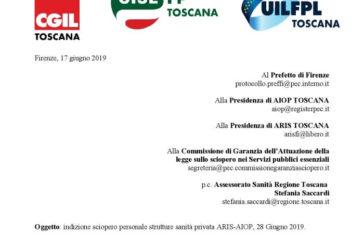 Cgil Cisl Uil categoria: 28 giugno sciopero della sanità privata toscana