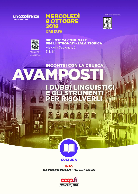 """Inizia a Siena il ciclo di eventi """"Avamposti della Crusca"""""""