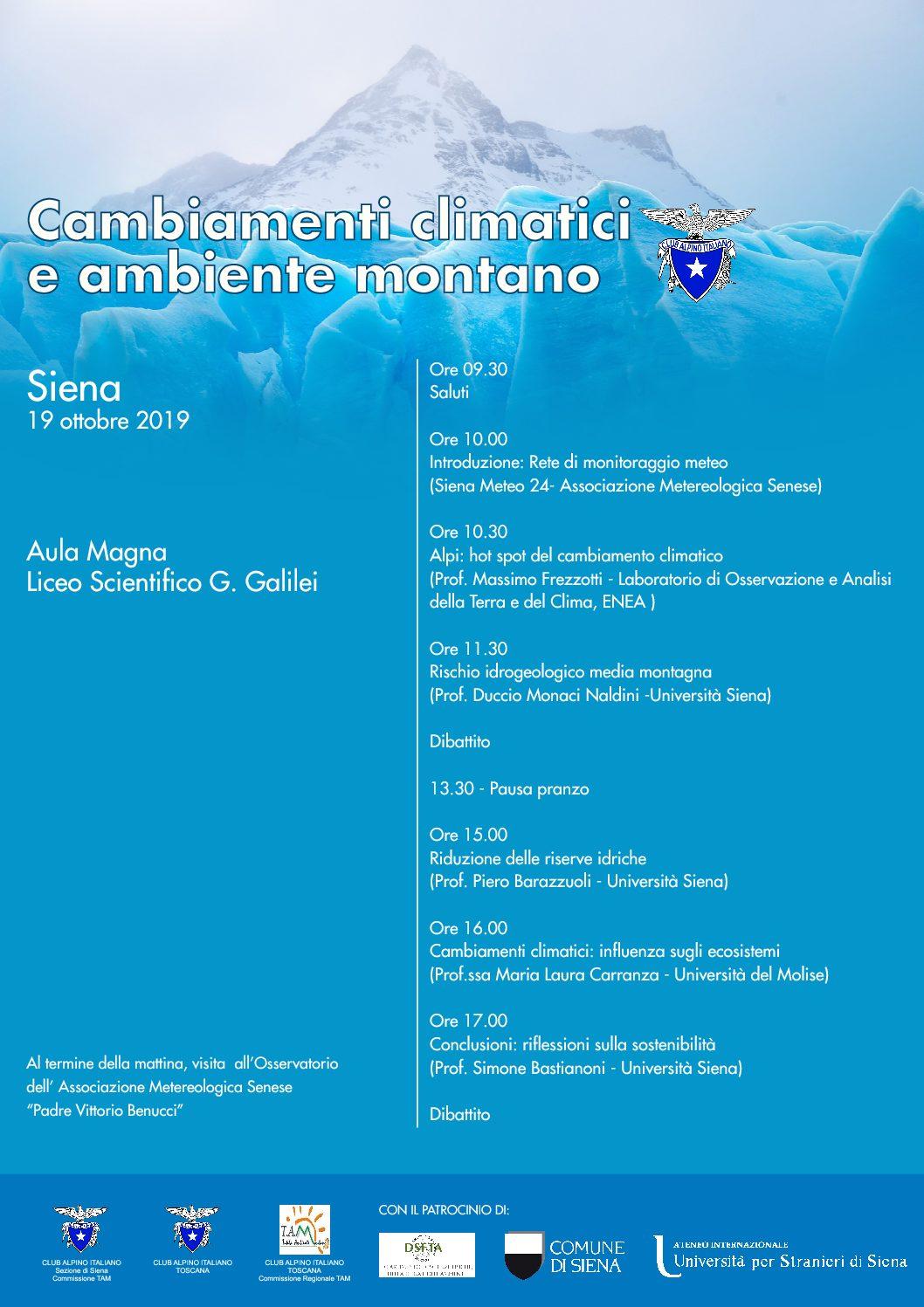 Il Cai Siena organizza un convegno sul cambiamento climatico
