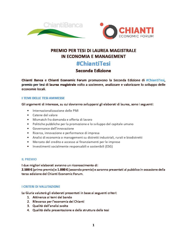 Al via la seconda edizione del premio #ChiantiTesi