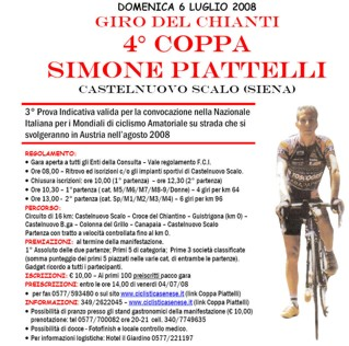 IV Coppa Simone Piattelli: via alle iscrizioni
